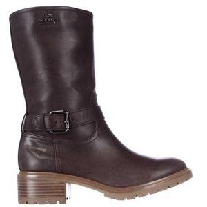Coach Genie Wax Mid Calf Leather Boots Dark Smoke